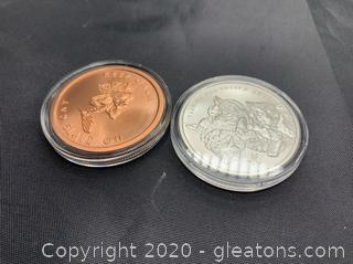 """Silver Shield 2015 """"Year of The Sheep"""" and Silver  Bullet Silver Shield """"Keep Calm and Slave On"""" 1oz silver and copper rounds"""