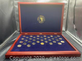 Morgan Mint Encapsulated Gold Plated Statehood Quarters Set W/Display Case