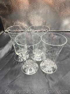 Libbey Etched Sunday Glass