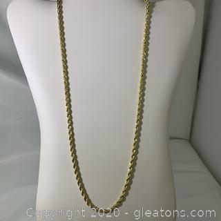"14KT Gold Plated 24"" Rope Necklace"