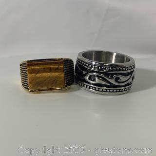 Pair of Stainless Steel Mens Ring