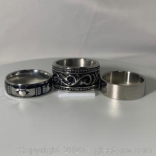 An Assortment of Three Stainless Steel Bands