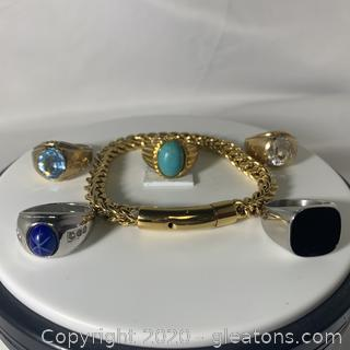 Assortment of Five Highend Mens Rings and Bracelet