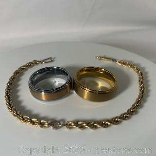 Heavy Gold Plated Tungsten Band, 2 Tone Tungsten Band and Gold Plate Bracelet