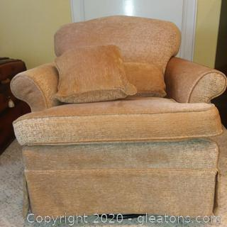 Upholstered Rolled arm Accent Chair- Swivels and Rocks