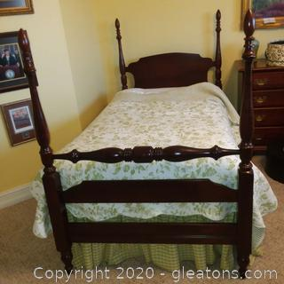Twin Size Poster Bed with Mattress and Box Springs