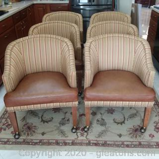 6 Barrel Breakfast/Dining Chairs on Casters