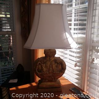 Painted Terra Cotta Lamp with Shade