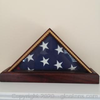 Folded American Flag in Traingular Shadowbox