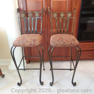 Set of 2 Iron Counter/Bar Stools with Upholstered Seats