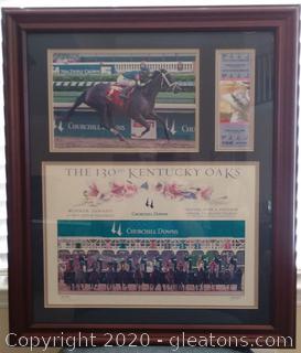 Framed Memorabilia of the 130th Kentucky Oaks at Churchill Downs