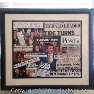 Framed Headline Collage of Governor Ernie Fletcher's Victory in 2003