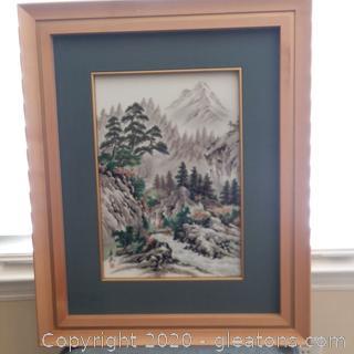 Framed Painting on Glass-Asian Landscape