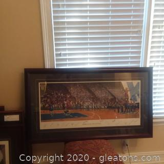 """""""Home Court Advantage"""" by George Claxton Lithograph Kentucky Wildcats Men's Basketball Team Has Signatures of Some of Kentucky Wildcats Best"""