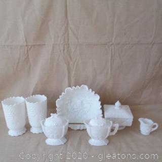 7 Piece Milk Glass Lot