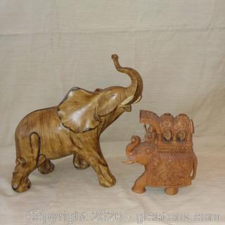Pair of Wooden Elephants