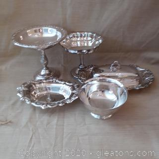 5 Pieces Silver-Plated Serveware
