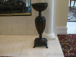 Tall Metal Decor Vase on Pedestal