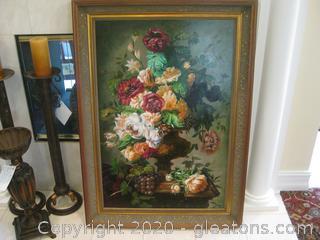 Large Vertical Floral Still Life in Ornate Gold Frame