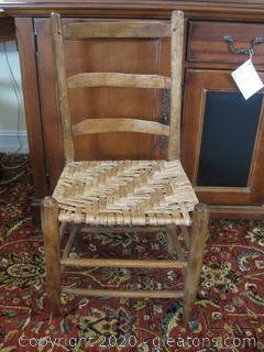 Small Ladder Back Oak Chair with Thatched Cane Seat