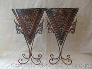 Pair of Decorative Metal Vases on Scrolled Quad Legs