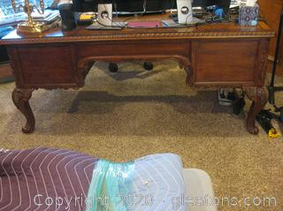 Exquisite Chippendale Style Mahogany Executive Desk