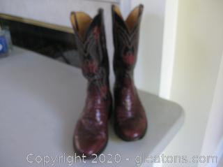 Beautiful Red and Black Exotic Men's Lizard Dress Cowboy Boots