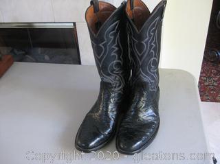Black Exotic Lizard Men's Leather Dress Cowboy Boots