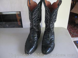J.Chisholm Black Men's Ostrich Cowboy Boots