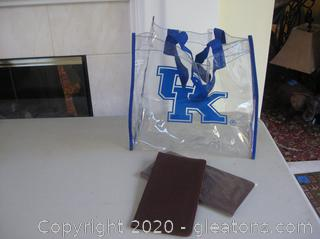 2 Leather AmGen Passport Holders and a Clear Stadium Bag