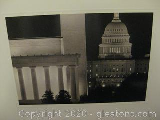 Authentic Collage Print of The US Capitol at Night