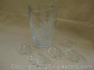 Crystal Vase Centerpiece with 5 Nut Dishes