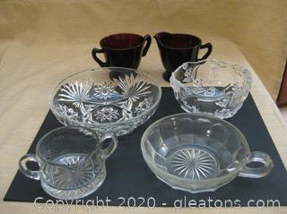 6 Piece Depression Glass and Cut/Embossed Glass Serving Pieces