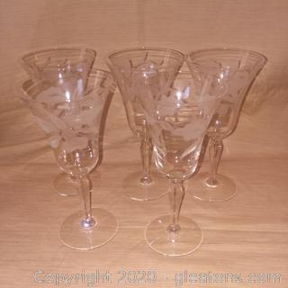 Set of 5 Etched Glass Stem Ware