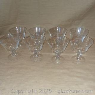 Set of 8 Etched Glass Stemware