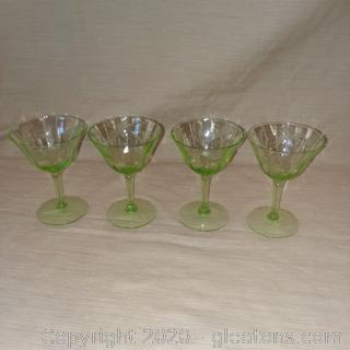 Set of 4 Green Etched Glass Stem Ware