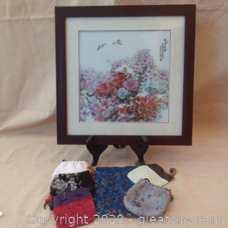 Framed Asian Floral Print 6 Small Bags