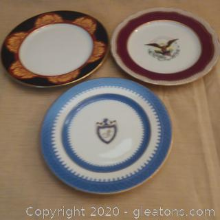 3 Commemorative Dessert Plates:106th Congress and White House China