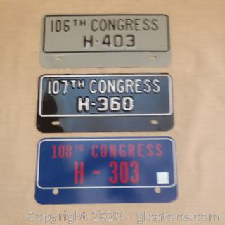 3 US Congressional Car Tags Used by US Rep. Ernie Fletcher of Kentucky