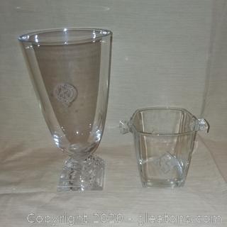 2 Engraved Glass Decor Pieces