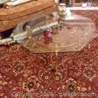 Modern, Octagonal Coffee Table of Brass Base and Glass Top