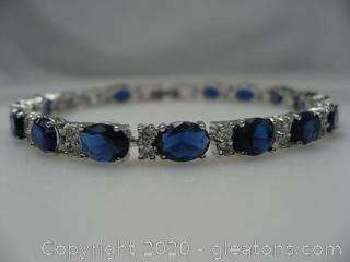 Sterling Silver Bracelet with Imitation Sapphires and CZ'S