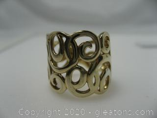 Gold Plated Scroll Ring