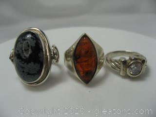 Set of 3 Sterling Silver Gemstone Rings