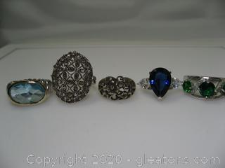 Set of 5 Fashion Rings