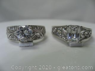 Set of 2 Sterling Silver CZ Ring