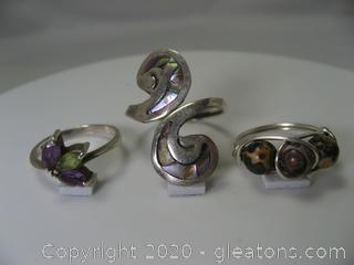 Lot of 3 Silver Fashion Rings