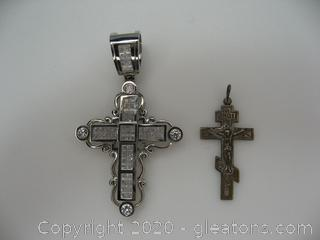 Lot of 2 Silver Crosses