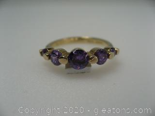 Gold Plated Limitation Amethyst Ring