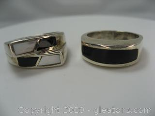 Lot of 2 Sterling Silver Men's Rings